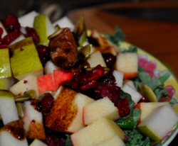 Kale Salad with Apples, Pears, Figs and Cranberry Vinaigrette